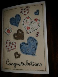 Handmade Engagement card in fabric