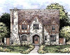 Plan Huge Tudor Home Plan Sq Ft; 2 Gar Like the floor layout. Scale it back, don't need a house that big. Tudor Cottage, English Cottage Style, Tudor House, English Tudor Homes, English Cottages, English House, French Country, Cottage Floor Plans, Cottage House Plans
