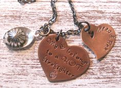 Firefighter Hand Stamped Necklace - Firefighters Wife, Girlfriend, Fireman, Belong to Firefighter Firefighter Family, Firefighters Wife, Hand Stamped Necklace, Dog Tag Necklace, I Love My Hubby, Metal Jewelry, Unique Jewelry, Metal Stamping, Handmade Gifts