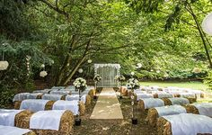 Ceremony Aisle Hay Bales Flowers Pom Poms Outdoor Festival Summer Wedding http://lighteningphotography.co.uk/