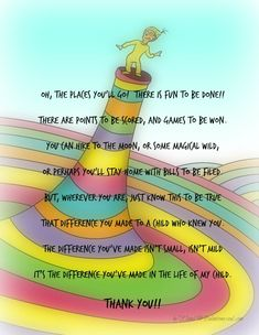 Oh the places you'll go Teacher Appreciation Printable. Great poem to show that special teacher what they did for your child! Teacher Poems, Your Teacher, School Teacher, Teacher Stuff, Student Teacher, Retirement Poems For Teachers, Mentor Teacher Gifts, Year End Teacher Gifts, Teacher Thank You Notes