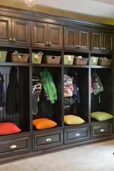 Mud room: I love the cupboards above the cubbies. They are perfect for storing off season items.