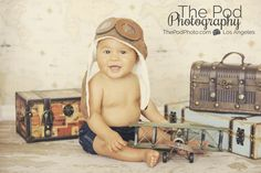 Santa-Monica-Baby-Portrait-Photographer-Suitcase-Trunks-Traveler-Set-Aviator-Airplanes - Los Angeles based photo studio, The Pod Photography, specializing in maternity, newborn, baby, first birthday cake smash and family pictures.