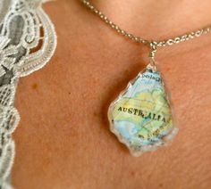 DIY map chandelier pendant necklace - where your were born, married, etc..