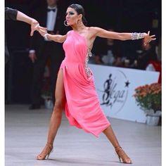 One shoulder pink draped latin dress