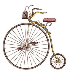 Magical penny-farthing for the book Journey To The World's Most Dangerous Country. The bird is a bell.