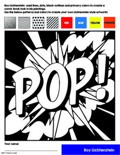 No Prep Pop Art History Lesson - Interactive Coloring Sheets - Lichtenstein