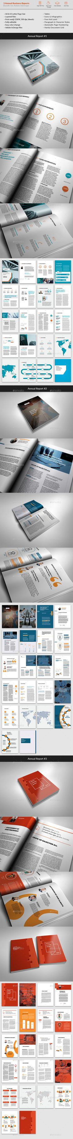 Bundle - 3 Annual Reports Templates InDesign INDD