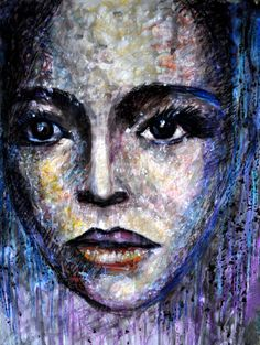 ARTFINDER: Face under Snow by Alex Solodov - Original acrylic with oil pastel painting. In this painting is portrayed a face under snow in a flash lighting. Inspired by fashion photographs. In expressi...
