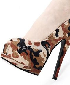 Army Camouflage Pattern Open Toe High Heels