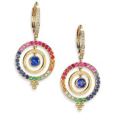 Temple St. Clair Celestial Multicolor Sapphire, Diamond & 18K Yellow... ($3,935) ❤ liked on Polyvore featuring jewelry, earrings, apparel & accessories, diamond drop earrings, gold bead earrings, sapphire earrings, sapphire diamond earrings and tri color gold earrings