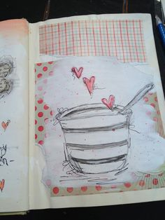 Gesso and sketch over patterned scrapbook paper scrap. Art journal inspiration page.