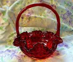 Vintage+Fenton+Basket+RUBY+RED+GLASS+Thumbprint+by+TreasuresPast4U