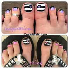 Stripes & Hearts Pedicure Nail Art ..these remind me of you @Pam Keith :)
