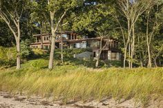 Island Beach, Long Island, Porch Supports, Two Sided Fireplace, Passive House, Board Formed Concrete, Architecture Design, Outdoor Living, Beach House