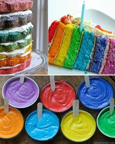 Rainbow cake.  What a fun idea!