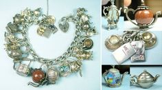 Tea time teapot-themed charm bracelet (all except 3) - sold for $698.99