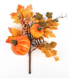 """12"""" Pumpkins, Berries and Fall Maple Leaves Floral Pick"""
