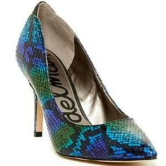 I just discovered this while shopping on Poshmark: Lowest price  SAM EDELMAN BLUE ZOLA SNAKE PUMP. Check it out! Price: $48 Size: 7.5, listed by jasminefab89