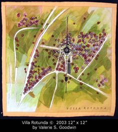 Villa Rotunda map art quilt by Valerie S. Goodwin