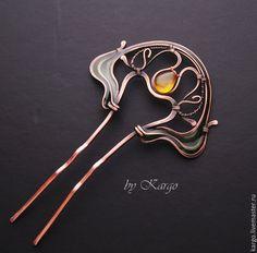 Купить Шпилька Тайна Леса - коричневый, шпилька, art nouveau, Ар Нуво, медь