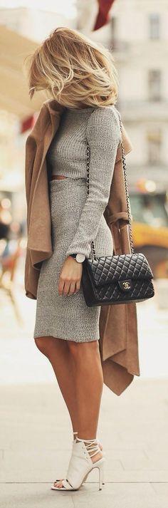 grey cropped sweater & skirt :: zazumi.com