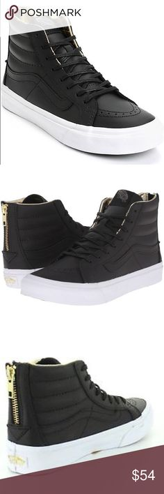 Vans SK-8 HI Black/Gold Leather Slim Zips' The Leather Sk8-Hi Slim Zip, a slimmed down version of its original, is lace-up high top with a durable leather upper, zipper entry at heel, leopard print lining, a supportive and padded ankle and Vans vulcanized signature Waffle Outsole. Vans Shoes Sneakers