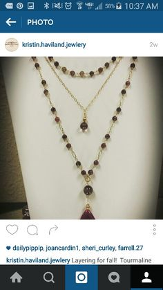 Layering for fall!  Tourmaline is one of my favorite fall stones.  Paired here with mystic topaz drop