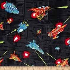 Coming at You in 3D Spaceships Black from @fabricdotcom  Designed for Hoffman International Fabrics, this cotton print fabric is perfect for quilting, apparel, crafts, and home decor items. Colors include black, red, white, aqua, orange, and lime.