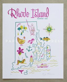 Rhode Island State Letterpress Print 8x10 by paperparasolpress