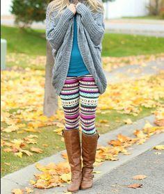 Multi Aztec Knit Fleece Lined Leggings