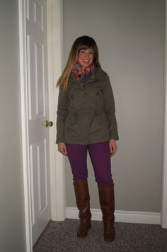 April Showers ~ Military Jacket & Purple Jeans  http://sextoninthecity.ca/april-showers/