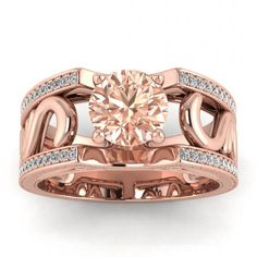 Piece Info: - 14K Rose Gold - Comfort Fit - Hypoallergenic, Cobalt-Free - Sleek Design - Durable - Comes in a Gift box #14k #Rose #Gold #Riva #Vintage #Style #Engraved #Morganite #And #Diamond #Ring #Paved #Edges #Antique #Filigree #Engraved #Profile #14k #morganite #ring #18k #morganite #ring #rose #gold #engagement #wedding #ring #engagement #ring #rose #gold #morganite #morganite #engagement #shared #prong #accents #high #profile #prongs #paved #edges #antique #filigree #engraved Wide Band Diamond Rings, Pave Ring, Morganite Ring, Pink Tourmaline, 18k Rose Gold, Wedding Ring Bands, Diamond Shapes, Engagement Ring, Morganite Engagement