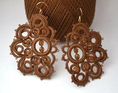 Tatting lace earrings pearl earrings, bronze and Topaz frivolité tatting, bronze, handmade, sofisticated earrings