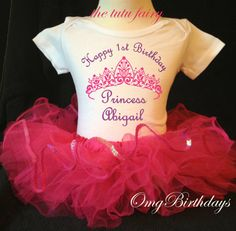 Princess Pink Purple Script Princess Crown Birthday Personalized Name Age Shirt & Tutu Set outfit girl 1st first 6 12 18 months Baby Toddler...