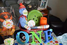 Sock monkey 1st birthday party