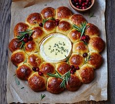 Festive filled brioche centrepiece with baked Camembert