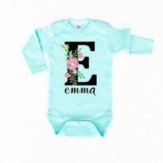 Personalized Floral Monogram soft mint onesie. Onesie is personalized with your ONE name of choice (limited to 10 characters). Item will be printed with ONE nam