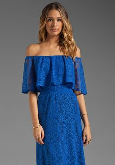 T-BAGS LOSANGELES Off the Shoulder Maxi Dress in Royal at Revolve Clothing