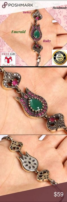 """OTTOMAN HANDMADE EMERALD RUBY 925 SILVER BRACELET Material is .925 Sterling Silver and Bronze. The stones are EMERALD, RUBY, TOPAZ. This Bracelet is 15,42 grams. Head size is 0,67"""". Length is 7.5"""". All our silver items have the 925 stamp. ***All our items are made in EUROPE with high quality workmanship***  Visit our other auctions for great deals Jewelry Bracelets"""