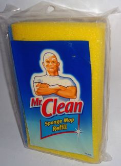 Mr. Clean Sponge Mop with Scrubber Refill Classic Easy Snap On #MrClean