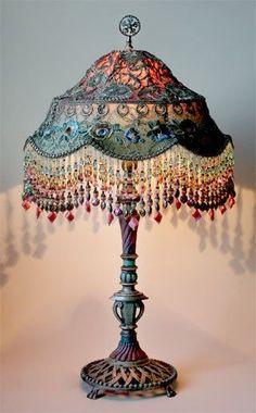 Boho Lamp love it!!! Bohemian gypsy lighting at www.rubylane.com #vintagebeginshere @rubylanecom