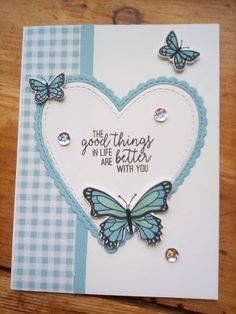 Created using Be mine framelits, Butterfly Gala stamp set & matching punch, Gingham designer paper all from stampin up Mothers Day Cards, Valentine Day Cards, Friendship Cards, Butterfly Cards, Heart Cards, Cute Cards, Diy Cards, Card Sketches, Anniversary Cards