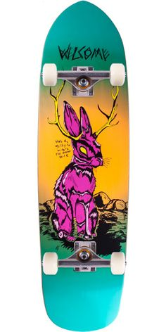"""Welcome Jackalope on Squidbeak Skateboard Complete - Purple Orange Gradient - 8.60 The mythical creature that inspired generations of hoaxers is finally on a deck. On top of that, everyone knows the Squidbeak shape helps you ollie higher. This deck will have you sayin', """"What's a popsicle shape again?""""."""