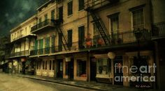 """""""The City Sleeps"""" © 2016 RC deWinter ~ A moonlit view looking down Royal Street from St. Peter, New Orleans, Louisiana. Shown here as an x canvas; available in a variety of media, sizes and configurations. Framed Wall Art, Wall Art Prints, Beautiful Artwork, American Artists, Louisiana, Fine Art America, Photo Art, Original Artwork, Cool Art"""