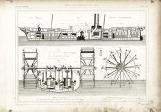 AUTHENTIC 1800s XL engraving Industrial design - Industrial Patent Print - Marine engineering Wall Art - Technical drawing - Steamship - Paddle Steamer. Original print. NOT A COPY. BUY SEVERAL / PAY NO MORE SHIPPING FEES. (valid for prints from the ARMENGAUD collection). This