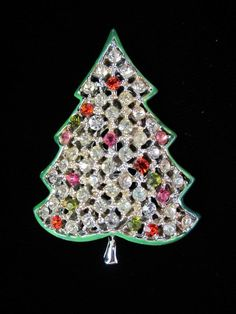 Vintage Kramer Rhinestone and Enamel Christmas Tree Brooch Pin