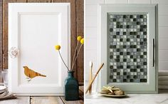 Drzwiczki kuchenne z mozaiką i farbą