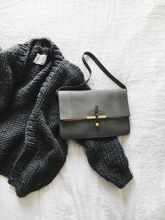 I Love Mr Mittens cardigan & Céline bag. Via Mija