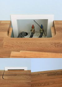 """This is a good idea for hiding """"stuff"""". I don't need the water shut off hidden, but just saving this for a maybe later idea for something else."""